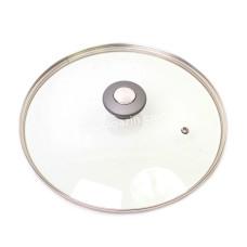 Крышка стеклянная Kamille Ø24см с металлическим ободком (универсальная) KM-0824GR
