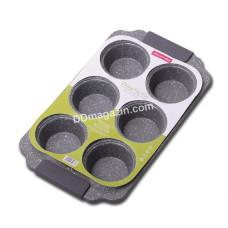 Форма для выпечки маффинов Kamille 30*18*3 см из углеродистой стали (серый и бежевый мрамор) KM-6038