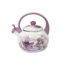 Чайник эмалированный Interos Pink Handle Орхидея 2,2 л со свистком, пластиковая ручка