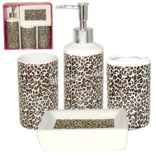 Набор аксессуаров для ванной комнаты S&T Леопард, 4 предмета