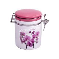 Банка керамическая с зжимом 850 мл. орхидея розовая