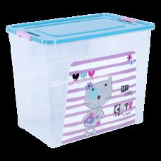 """Контейнер детский """"Smart Box"""" с декором 40 л. Pet Shop, 49,4*32,2*39,5 см (мимо. / Бирюза. / Роз. /) 124049"""