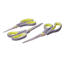 Набор ножниц Kamille, универсальные 3 предмета из стали, пластиковые ручки с антискользящими вставками (14см; 17см; 21,5см) KM-5187